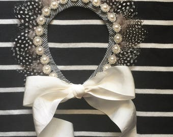 Pearl, Rhinestone and Feather Collar Necklace/Headpiece