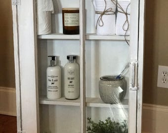 Medicine Cabinet - Rustic Display Cabinet - Window Wall Cabinet - Rustic Wood Windows - 2 Pane Window Cabinet - Shabby Chic - Apothecary