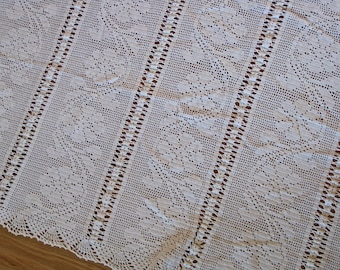 white crochet bedcover throw vintage handmade French cover