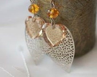Swarovski Crystals Champagne Heart Earrings with silver plated Leaf Charms