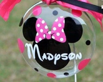 Personalized pink and black Minnie Mouse glass ornament