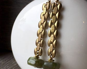 Faceted VESUVIANITE green and brass trio chain earrings
