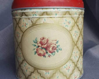 Beautiful Vintage Cranberry Rose Biscuit Tin - Worcester Ware.  Made in England