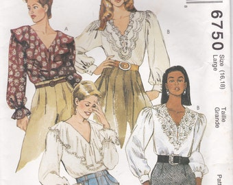 1990's Sewing Pattern - McCall's 6750 Misses Blouses Size 16-18 cut, Complete