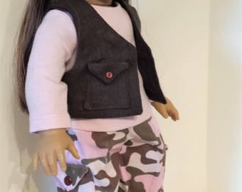 "Hand Made American Girl 18""  Doll Clothing - Camouflage in Pink and Brown Vest, Cargos and Tee set for"