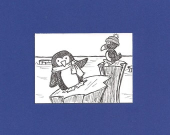 ACEO,  ATC, Penguins, Original, Art Trading Card, Hand Drawn, Kid Friendly, Black and White