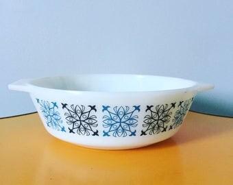 Retro Blue and Black Pyrex Casserole Dish
