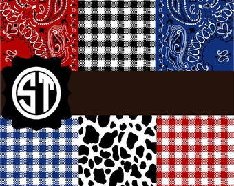 Farm Prints Bandana Gingham Cow Vinyl (Indoor, Outdoor,  Glitter vinyl , HTV iron on, Glitter HTV) Lamination available Mask not included