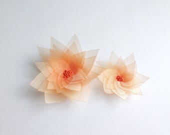 2 Orange Organza Flowers Embellishment