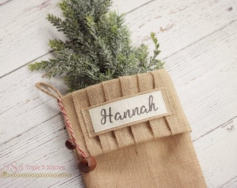 Burlap Christmas stocking-embroidered burlap stockings-burlap stockings-Christmas stocking