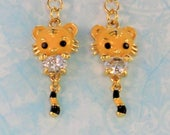 SALE! Black and gold kitty charm earrings, cat with dangling tail charm rhinestone kitty earrings golden yellow enamel cat wiggling tail