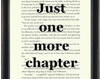 Harry Potter Book Print Just One More Chapter Upcycled Book Page Harry Potter Fandom