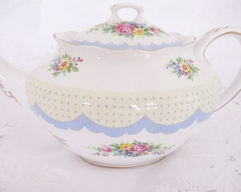 Rare Royal Albert Crown China Prudence blue teapot, 1920's teapot, 4-5 cup teapot, excellent condition