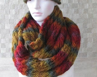 Mens Hooded Cowl, Oversized Infinity Scarf, Snood, Mens Knit Cowl, Knitted Cowl, Circle Scarf, Warm Winter Scarf - Mens Fashion