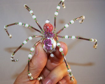 Christmas Spider pink floral  Beaded German  Ornamental Tree Decoration