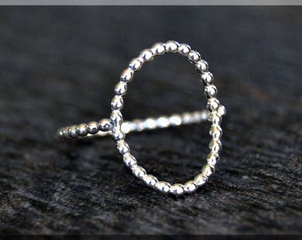 Sterling Silver Open Oval Stacking Ring, Dramatic Oval Ring, Geometric Jewelry, Elegant Ring, Open Full Bead Oval Ring, Knuckle Ring