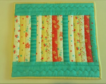 QUILTED Mug Rug Snack Mat Coffee Mat MINI table runner Aqua Yellow Green Red or Watermelon Dresser Kitchen Porch Patio Sunroom MOTHER'S day