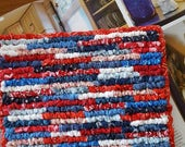 Ready To Ship, Red White Blue Pot Holder, 8 x 7.5 Inches, Primitive Patriotic Hot Mat, Americana Collector, Celebration Table Mat