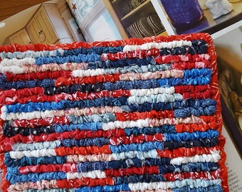 Hand Made Fabric Hot Pad, Red White Blue Pot Holder, 8 x 7.5 Inches, Primitive Patriotic Hot Mat, Americana Collector, Celebration Table Mat