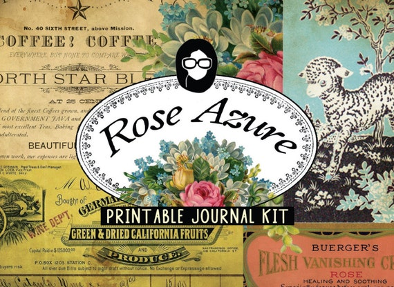 Vintage Junk Journal - Rose Azure - 20 Journal Refill Pages, journaling kit, junk journal, journal kit, writing journal, junk journal kit