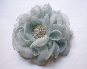 Gorgeous Aqua Blue Chiffon Hair Clip Bridal Bride Bridesmaid Mother of the Bride with Pearl and Rhinestone Accent Hair Accessories Bridal