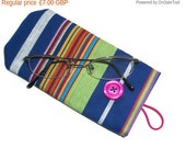 On SALE Eye Glasses Case - Protective case for eye glasses - cotton canvas - button closure- UK Seller