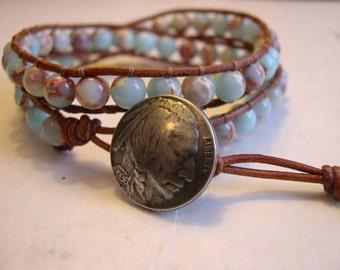 Wrap bracelet, Beaded wrap bracelet, Beaded LeatherWrap, Boho bracelet, Beaded wrap - 886