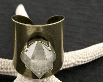 RAW HERKIMER DIAMOND Tall Aged & Distressed Bronze Ring