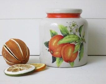 Vintage French Marmalade pot~Orange~Stoneware~Utensils~