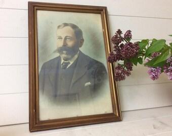 Victorian Framed Photo~Hand Coloured~Victorian Gentleman~Moustache~Gesso~Gilt~