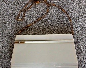 Vintage 1970's Sleek Ivory Lucite Gold Chain Handbag Clutch Made in Italy