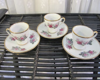 Vintage 60's set of 3 demitasse gold rimmed with roses porcelain cups and saucers made in China