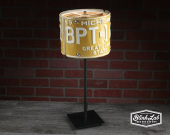 Michigan License Plate Table Lamp, Round, Man Cave, Garage, Repurposed, Upcycle, Automotive Lamp, Hand Crafted Light, Yellow & White
