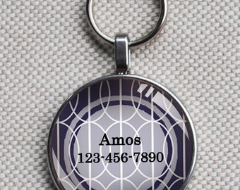Pet iD tag small round CAT ID small breed Dog Tag Dog Tag Cat Tag by California Kitties blue and white patterned round ID Amos