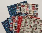SHOP CLOSING SALE  London Fabric Destash, Fabric Bundle, Fabric Remnants, Cotton Quilting Fabric - 7 pcs
