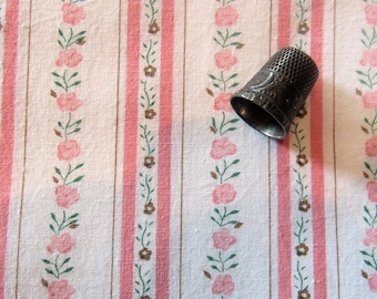 pink floral stripe ticking print vintage cotton fabric -- 28 wide by the yard