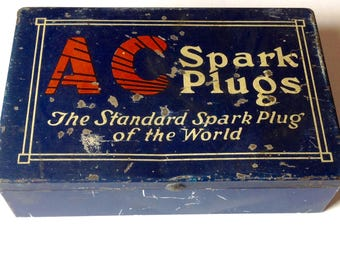 Vintage A C Spark Plugs tin box