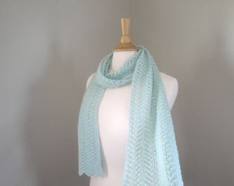 Pale Green Cashmere Scarf, Hand Knit Knitted, Long Light Scarf, Lace Lacy Wrap Scarf, Aqua Green