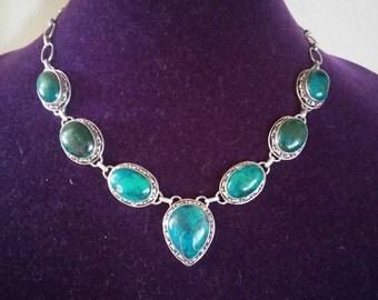 Gorgeous Vintage Victorian Chrysocolla Necklace