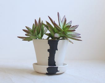 Crater Planter Mini Planter with Attached Saucer All in One Planter Made to Order