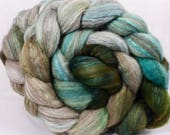 Hand dyed bfl / silk top for spinning -Aventurine- (4.9 oz.) Mixed UK Bluefaced Leicester/tussah silk (75/25)