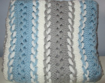 Sky blue, grey and white hairpin lace blanket