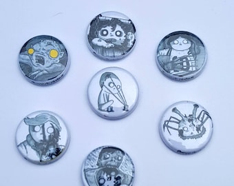 Set of 5 Horror buttons/magnets