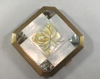 Vintage Carved Mother of Pearl Metal Mirrored Compact,Now- Light,Cosmetics