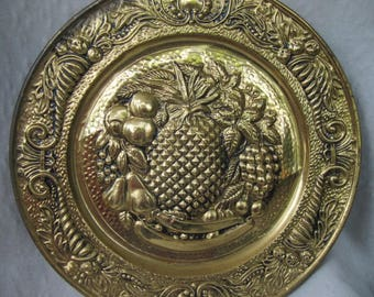 Decorative collectible brass embossed vintage wall plate pineapple with fruit