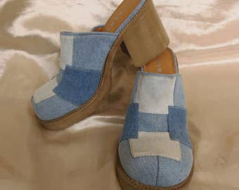 Women's Vintage 1980's Boho Chic Blue Denim Jean Patchwork Clogs Shoes Size 8