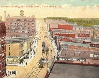 Vintage Postcard....Indiana, Terre Haute…Wabash Avenue, Looking East of 8th Street...Used, 1918...no. 0007