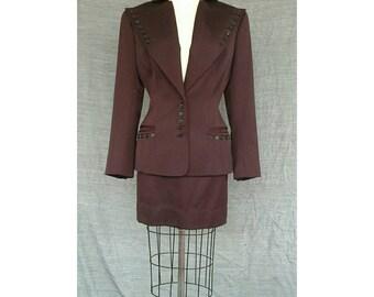 Vintage Norma Kamali Buttoned Up 1980s Burgundy Power Suit Mini Skirt Wool USA