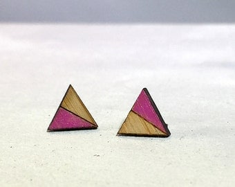 Magenta Triangle Studs // Bamboo Earrings // Geometric // Hypoallergenic  // Wood Jewelry // pink earrings gifts for her