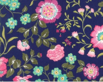 Regent Street Lawn 2016 by Moda - English Garden - Navy - 1/2 Yard Cotton Lawn Fabric 117